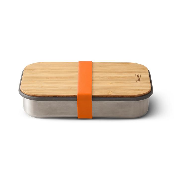 black+blum Edelstahl Sandwichbox mit Bambus-Deckel Orange