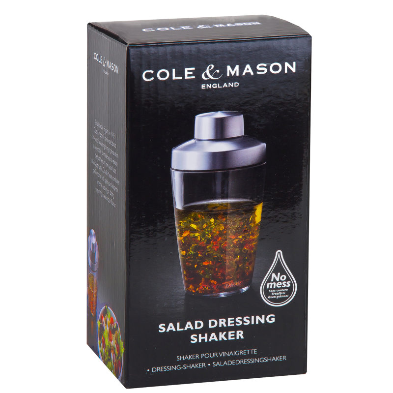 Cole & Mason Dressing Shaker - Glas/Edelstahl, Höhe: 20 cm