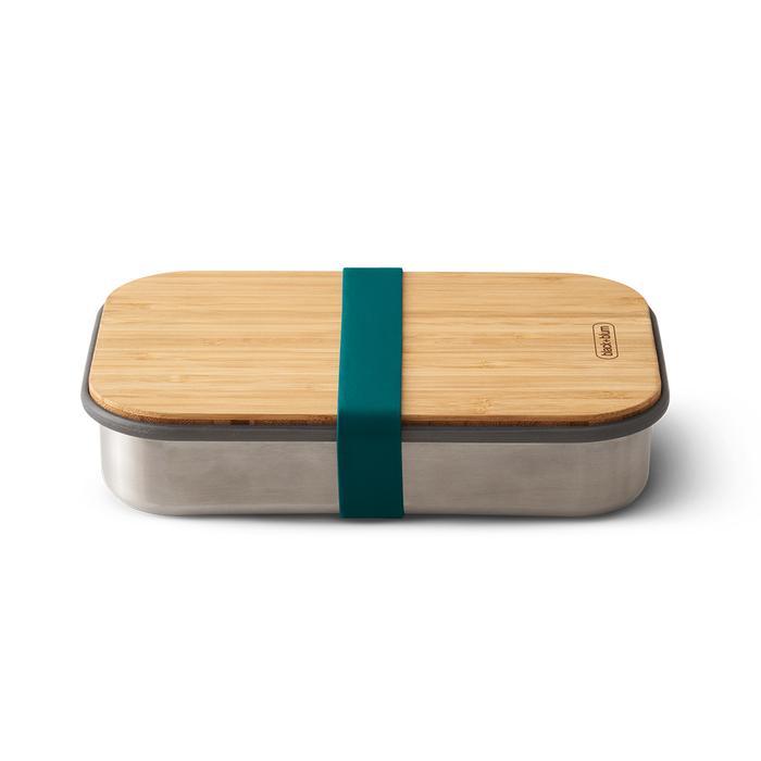 black+blum Edelstahl Sandwichbox mit Bambus-Deckel Dunkelblau