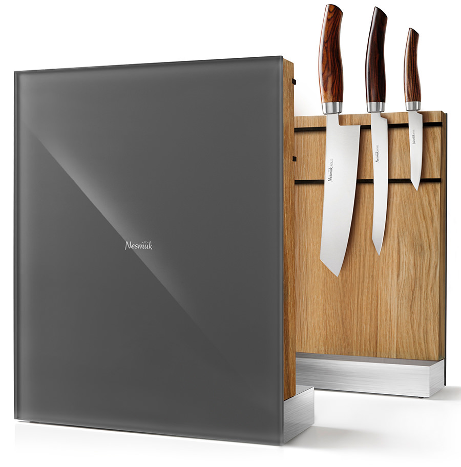 Nesmuk Messerhalter magnetisch Eichenholz, Glas in grau