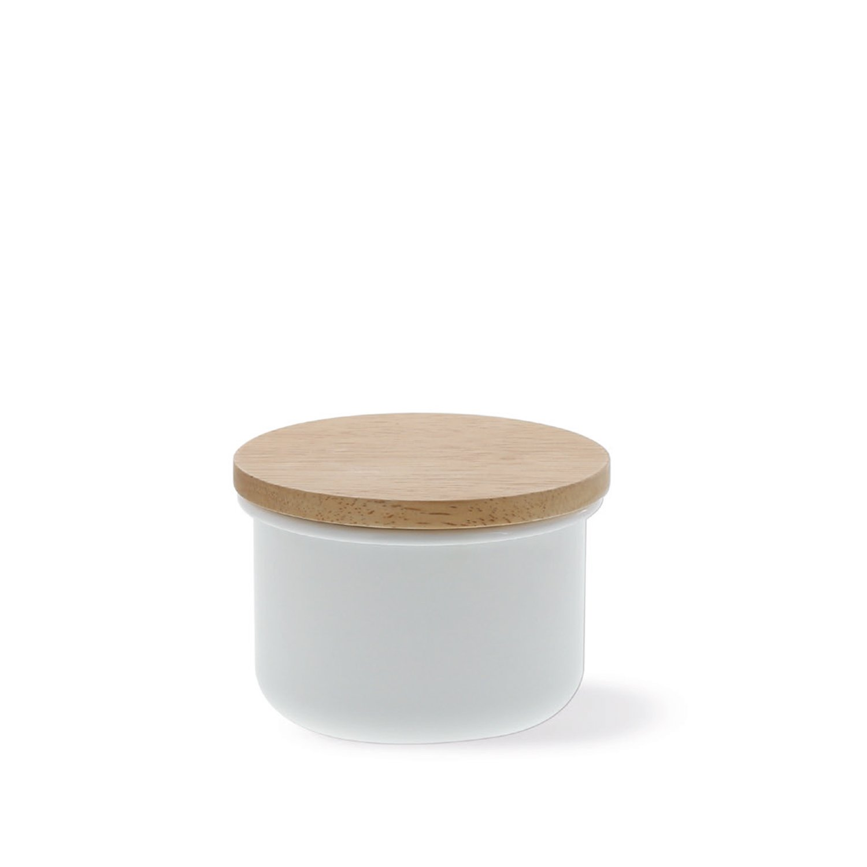 Honey Ware Emaille Vorratsdose mit Holzdeckel 380 ml